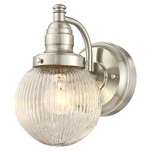 Ribbed Decorative Fixture - Westinghouse Lighting 6314200 Eddystone One-Light Outdoor Wall Fixture, Brushed Nickel Finish with Clear Ribbed Glass,