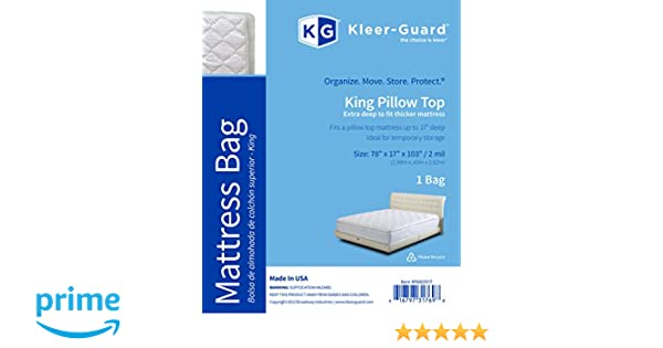 Amazon.com: Kleer-Guard Extra Deep King Pillow Top Mattress Bag - Thick 2-Mil Mattress Bag - Fits Standard - Protect Against Dust, Spills, ...