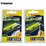 thkfish Fishing Glow Sticks, 20pcs(10bags) #M #L #XL Light Stick Dry Type Snap Clip On Fishing Rod TopFloat Glow Stick Night Fishing Green Fluorescent Light Fishing Glow Sticks