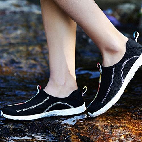 Trocknende Strandwohnungen Aqua Sommer Schwarz Männer Unisex Sneakers Schnell Schuhe Wasserschuhe Frauen Atmungsaktive Wading für HXfqWYq