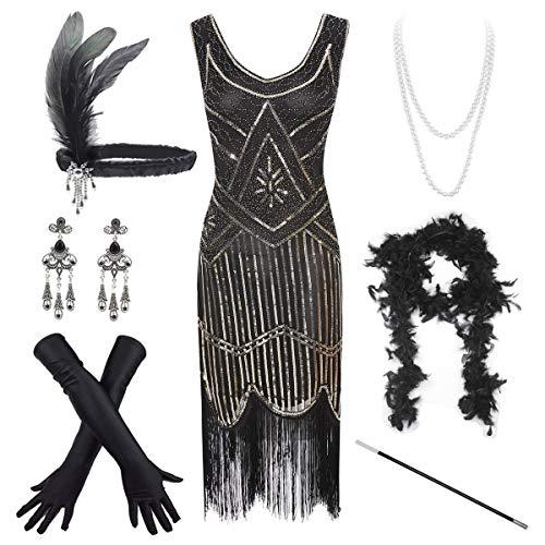 Women's Vintage 1920s Sequin Beaded Tassels Hem Flapper Dress w/Accessories Set ()