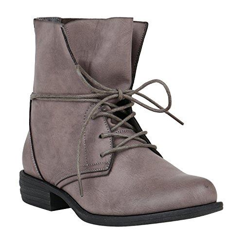 Stiefelparadies Damen Schnürstiefeletten Blockabsatz Boots Stiefeletten Zipper Booties Spitze Häkeloptik Leder-Optik Schuhe Übergrößen Flandell Dunkelgrau