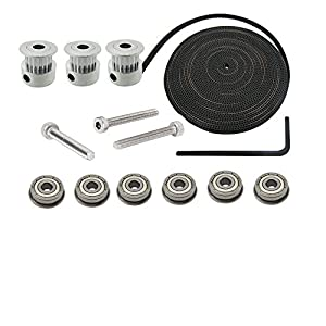 Orish 3D Printer Delta Rostock Kossel Movement Kit GT2 20T Timing Pulley and 6M Belt with F623ZZ Flange Metal Double Shielded Ball Bearing for RepRap by Orish