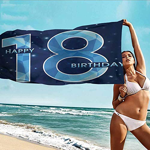 - Custom Towels Bathroom Body Shower Towel 18th Birthday,18 Years Birthday with Galaxy Star Themed Dots Image Art Print,Dark Blue and Sky Blue,Suitable for Home,Travel,Swimming Use 28