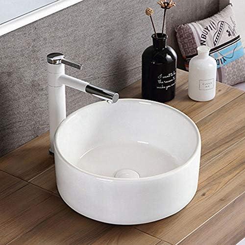 洗面ボール 浴室の容器シンクラウンド上記カウンターシンクアート盆地のために洗面所の洗面化粧台のキャビネット現代のスタイル 洗面器 (Color : White, Size : 40.5x40.5x16cm)