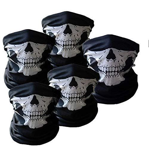 Premium Black Seamless Skull Face Mask Shield Protective Balaclava Alpha Defense Perfect For Fishing, Hunting, Hiking, Motorcycle Riding, Airsoft, Paintball, Camping, Canoeing, Outdoor (5pcs) ()