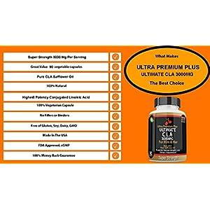 CLA 3000mg SUPER STRENGTH Ultra Premium Plus. Highest Potency Conjugated Linoleic Acid Softgel. Pure 100% Safflower Oil, Best Weight Loss, Fat Burner, BODY ENHANCEMENT, Supplement for Men & Women