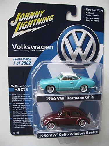 1950 Volkswagen Split Window Beetle and 1966 Karmann Ghia 2 Cars Set 1/64 Diecast Model Carsby Johnny Lightning JLPK001-VW from Johnny Lightning