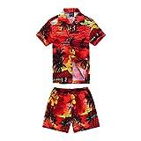Boy Hawaiian Shirt and Short Set Cabana Set in Red Floral