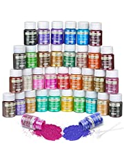 35 Colors Pigment Powder Dye, Natural Cosmetic Grade Mica Powders Set for Epoxy Resin, Bath Bombs, Candle Making, Soap Colorant, Lip Gloss, Paint, Slime Pigment, Nail Polish, DIY Art Crafts (5G/Jar)