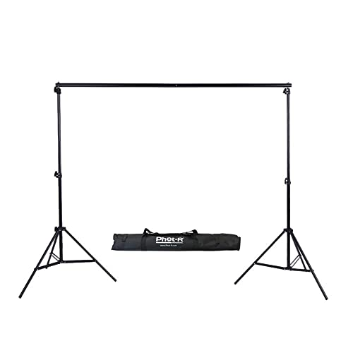 Phot-R 2x3m Portable Background Support System - Adjustable Photo Studio 2x 2m Light Stands and 3m Crossbar Lighting Photography Set Kit + Carry Case for Paper Muslin Cotton Vinyl Non-Woven Backdrops