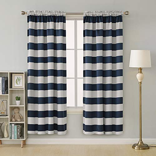 - Deconovo Navy Blue Striped Blackout Curtains Rod Pocket Nautical Navy and Greyish White Striped Curtains for Kids Room 52W X 84L Navy Blue 2 Panels