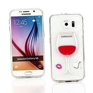 Kit Me Out ES ® Funda con fluido en movimiento 3D plástico + Protector de pantalla con gamuza de microfibra para Samsung Galaxy S6 - Rojo Copa de vino