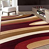 Rugshop Abstract Contemporary Modern Area Rug, 7′ 10″ x 10′ 2″, Burgundy