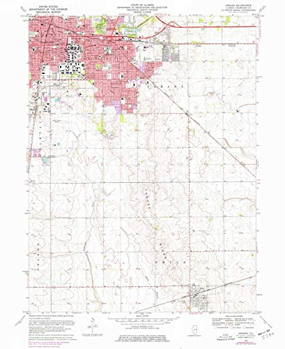 - YellowMaps Urbana IL topo map, 1:24000 Scale, 7.5 X 7.5 Minute, Historical, 1970, Updated 1976, 26.8 x 22 in - Polypropylene
