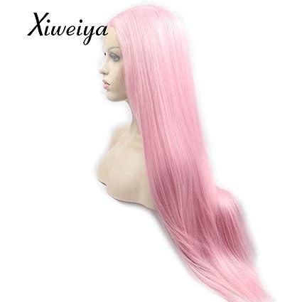 Sylvia larga Silky recto peluca rosa peluca Lace Front sintético resistente al calor de fibra suave