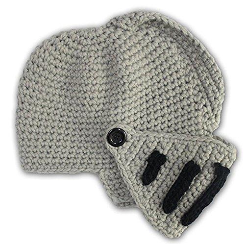 GIANCOMICS Roman Cosplay Knight Helmet Visor Knit Beanie Hat Winter Mask Cap Grey]()