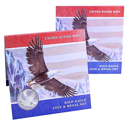 2008 P US Silver Dollar Bald Eagle Brilliant Uncirculated Commemorative Coin & Medal Set $1 BU -