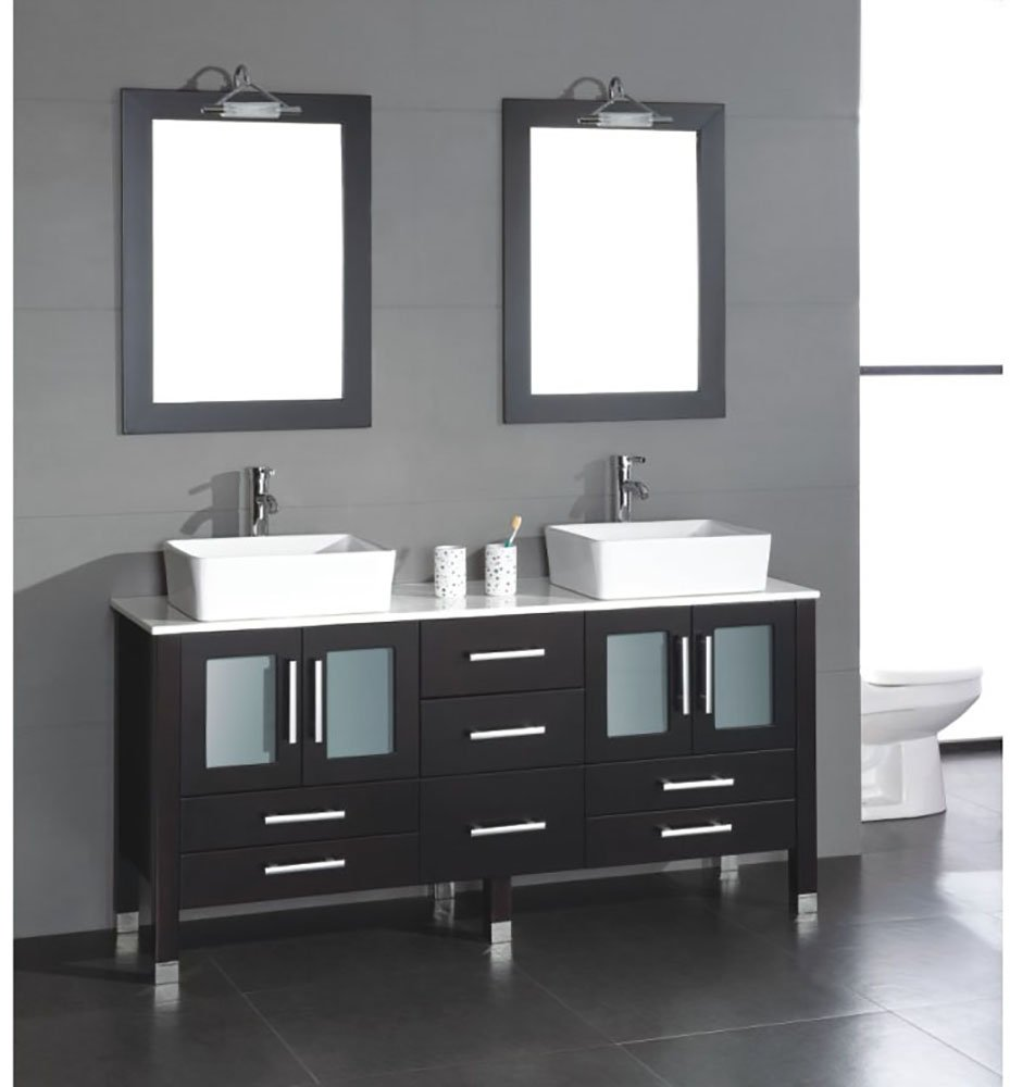 71 Inch Espresso Wood & Porcelain Double Sink (Chrome Faucets)- ''Webster'' by The Tub Connection