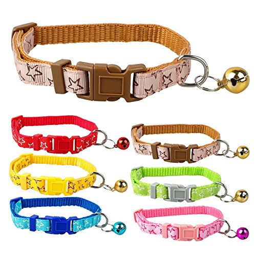 Small Dog Puppy Cat Collar Bell with Star Print Nylon Adjustable(6 PCS) (Best Collars For Poodles)