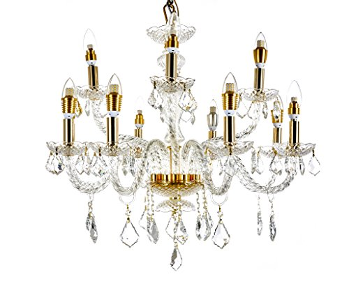 "Diamond Life 12-Light Gold Finish Crystal Chandelier Pendant Ceiling Light Clear European Crystal, 27"" Wide"