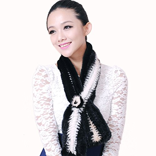 URSFUR Mink Fur Knit Bell Bottom Pull Through Scarf Multicolor (Black & White)