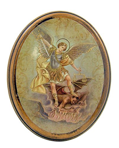 Gold Embossed Saint Michael the Archangel Icon on Oval Wood Plaque, 5 Inch