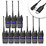 Baofeng 10PCS UV-5X Mate Handheld Two-way radio VHF136-174MHz UHF400-520MHz Dual Display Standby Transceiver Walkie Talkie with Tokmate Programming Cable