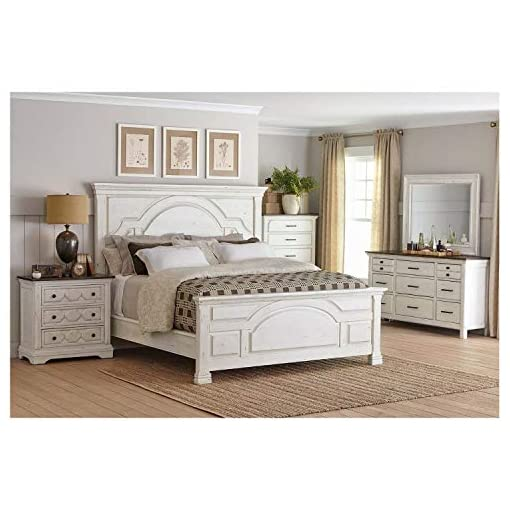 Bedroom Thaweesuk Shop New 4 Piece White Rustic Farmhouse Traditional Style Queen Size Bedroom Furniture Set Bed Nightstand… farmhouse bedroom sets