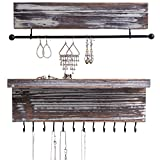 MyGift 2-Piece Wall Mounted Rustic Torched Wood