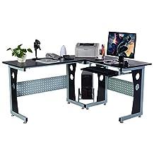 COSTWAY WOOD L SHAPE CORNER COMPUTER DESK PC TABLE WORKSTATION HOME OFFICE BLACK