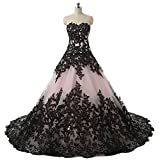 Pink and Black Applique Lace Quinceanera Ball Prom Dresses for Wedding 2018
