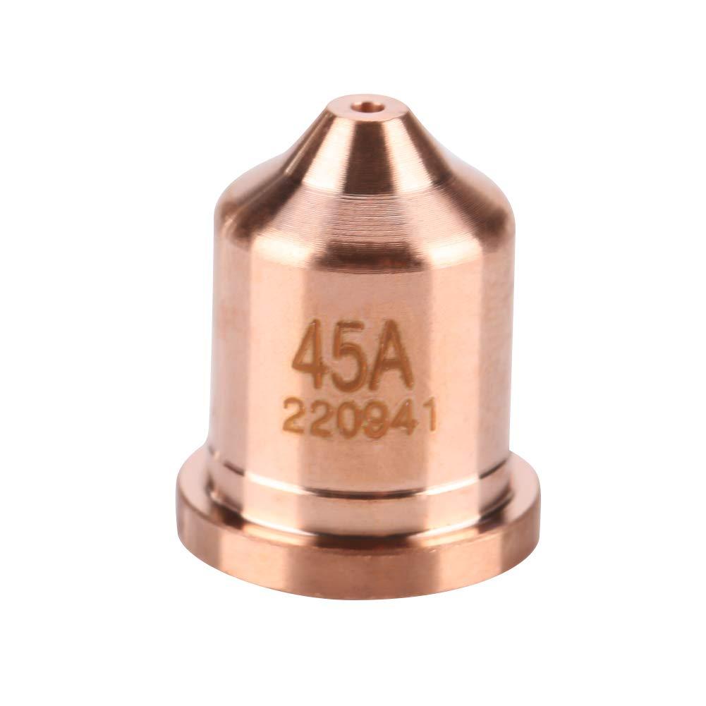 220941 Puntas de la boquilla del cortador de plasma 5 piezas 45A Puntas de la boquilla del cortador de plasma 220941 Ajuste para la antorcha de corte de plasma MAX65 Consumibles