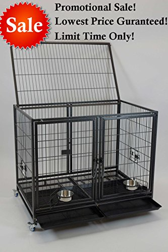 Homey Pet-43'' All Metal Open Top Stackable Heavy Duty Cage(Lower) w/ Floor Grid, Tray, Divider, Open Top, and Feeding Bowl by Homey Pet