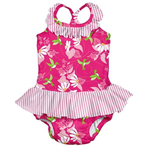 i play. Toddler Girls' Ruffle Swimsuit with Swim Diaper, Fuchsia Hummingbird, 3T