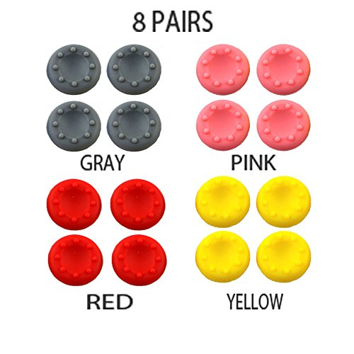 WELLSKEY 8 Pairs Thumb Grip Stick Cover For PS4 PS3 PS2 XBOX 360 ONE WII - Case Skin Joystick Controller - Pack of 16 pcs (4 Gray + 4 Pink + 4 Red + 4 Yellow) Set # 8