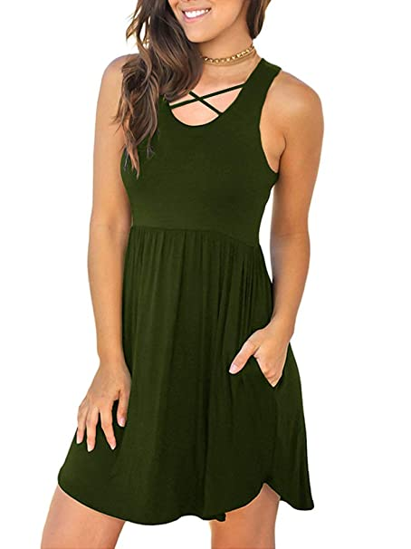 b06bd255e INFITTY Women's Sleeveless Loose Plain Dresses with Pockets V Neck Casual Short  Dress Army Green Small