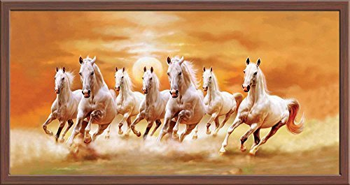 Art Factory Vaastu Seven Horse Canvas Painting (copyright protected) (Running Horses 7)
