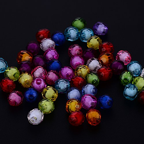 YazyCraft Faceted Beads Assorted Color 8 mm 1000 (Faceted Plastic Bead Necklace)