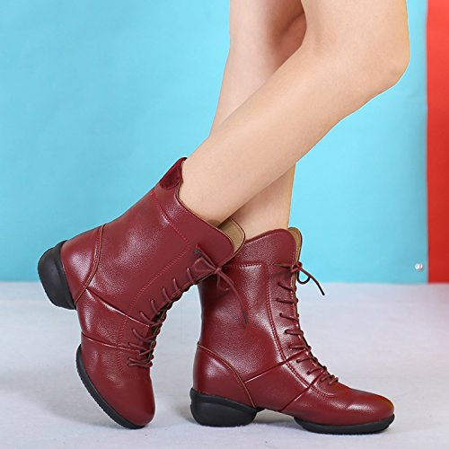 Abby 1813 Womens Party Comfy Closed Round Toe High Top Lace-up Square Split Heel Dance Shoes Brown(down Inner) EOnj1859Rk