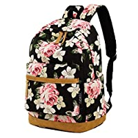 Girl College School Backpack, Women Vintage Work/Business/Travel Rucksack 14Inch Laptop Bag (Floral)