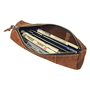 This handcrafted and finely stitched Cylinder Case with rustic accents is the only way to store your pens, pencils and artistic stationery. Handmade with beautiful Full Grain Suede Leather, this is perfect for artists, students, architects, business ...