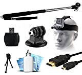 Extendable Selfie Recording Portrait Stick - Head Helmet Mount Strap - MicroSD Card Reader - HDMI Micro Cable - Mini Tripod - Dust Removal Cleaning Kit for GoPro Hero4 Hero3+ Hero3 Hero2 Hero Camera