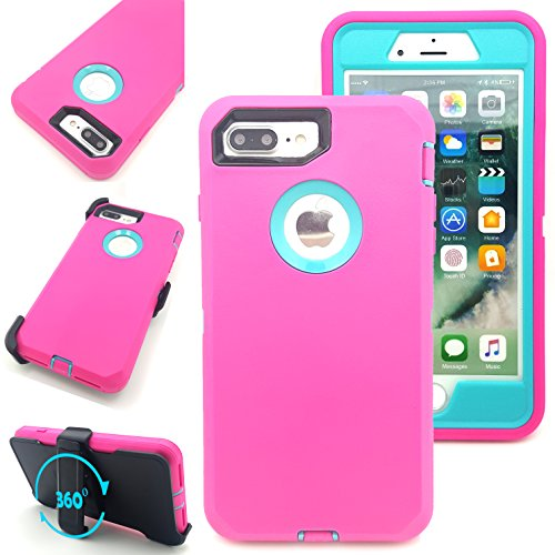 iPhone 7 Plus Case,Vodico Heavy Duty Rugged Multi-Layer Hybrid Protective Shockproof Defender Armor Case Cover with Belt Clip and Built-in Screen Protector for iPhone 7 Plus (Hot Pink Teal)