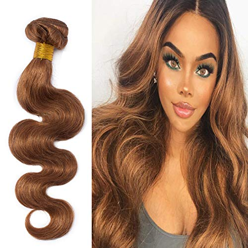 Light Auburn #30 Remy Human Hair Weave 16inch Long Body Wave 1 Bundle/100g 6A Unprocessed Virgin Brazilian Hair Weft Extensions for Afro American Women Party