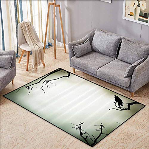 (Custom Door Rugs for Home Rugs Horror House Decor Crow Bird on Leafless Branch Cemetery Death Spirit Animal Evil Funeral Sepia Black Durable W6'5 xL4'6)
