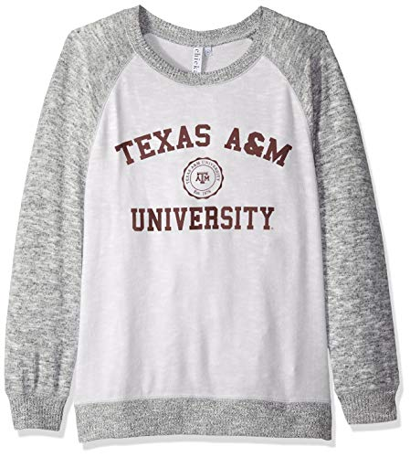 - chicka-d NCAA Officially Licensed Texas A&M University Ladies Cozy Crewneck Lightweight Sweatshirt/Sweater- Texas A&M Aggies Women's Apparel