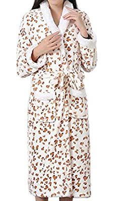 Rrive Women Zebra Print Pockets Flannel Shawl Collar Bathrobe Robe