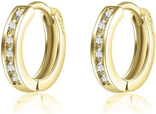 Small Hoop Earrings,14K Gold Plated Huggie Hoop Earrings Cartilage Earrings with Cubic Zirconia for Women Girls