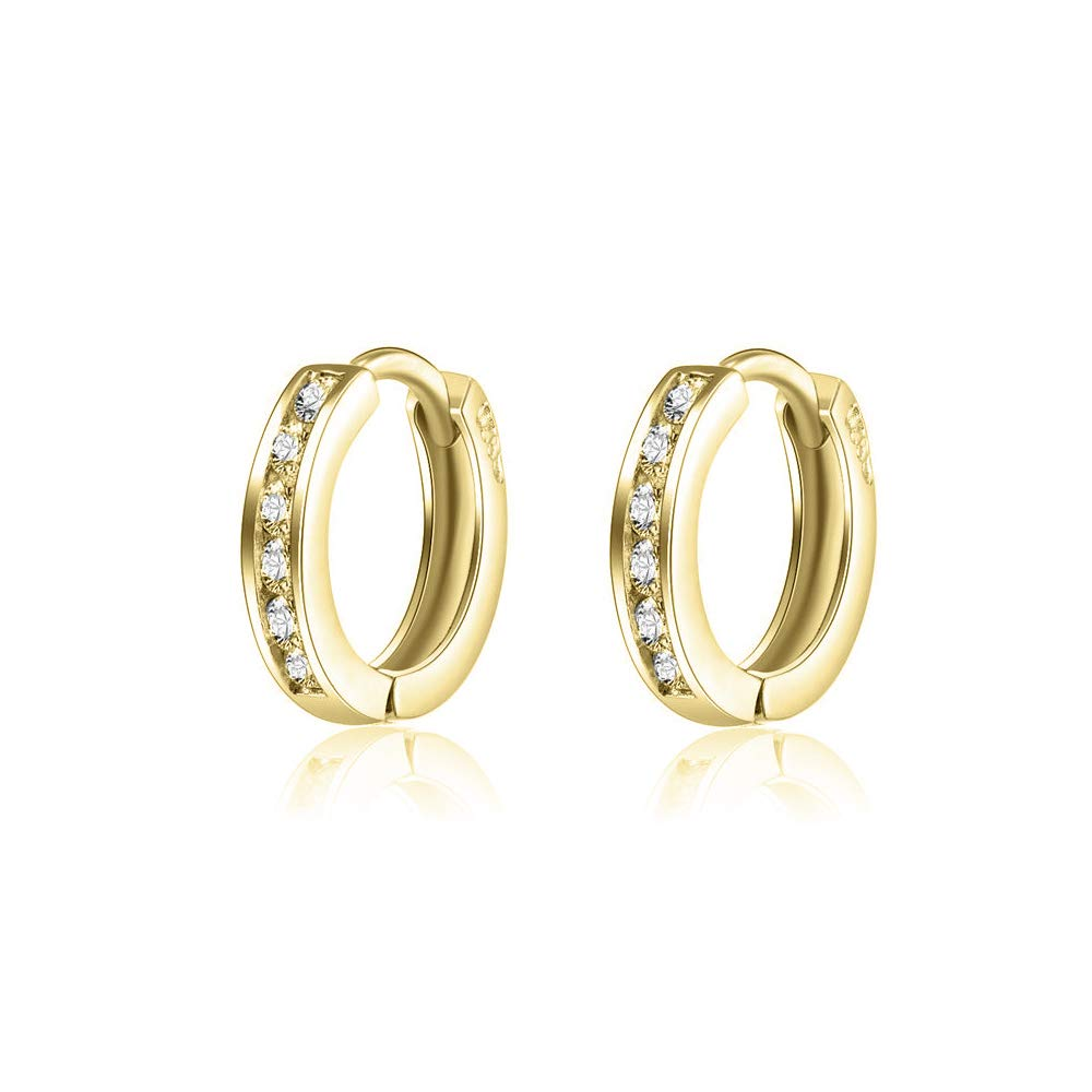 02785b2b08e4d8 Amazon.com: AOBOCO 925 Sterling Silver Small Gold Hoop Earrings 14k Gold  Plated Cartilage Cubic Zirconia Cuff Hoop Hinged Earring Stud for Women  Girls: ...